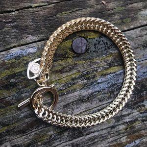 Gold evil eye chain charm bracelet